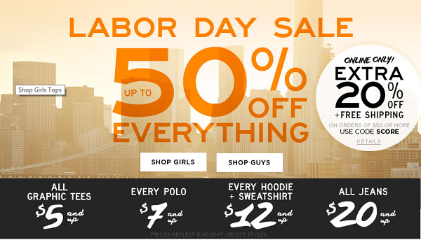 Aeropostale Labor Day Sale 50 Off
