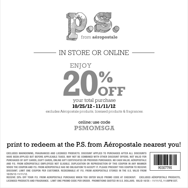 ps from aeropostale coupon codes